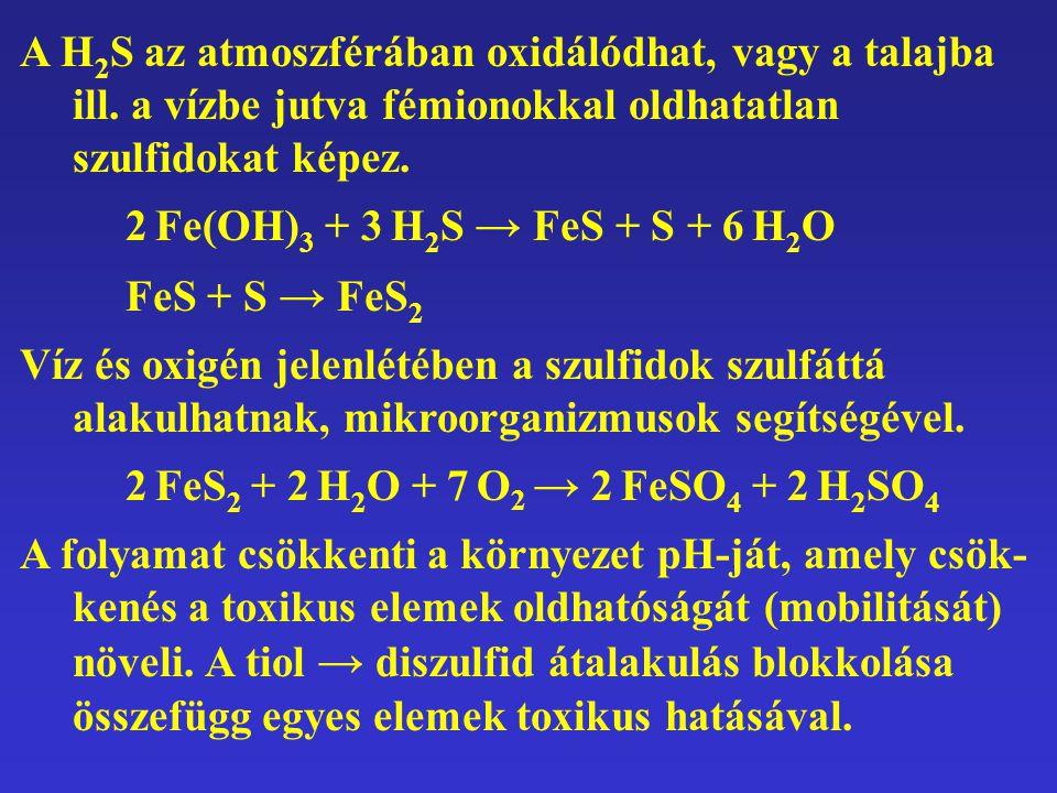 A H2S az atmoszférában oxidálódhat, vagy a talajba ill