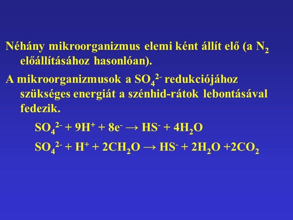 Néhány mikroorganizmus elemi ként állít elő (a N2 előállításához hasonlóan).