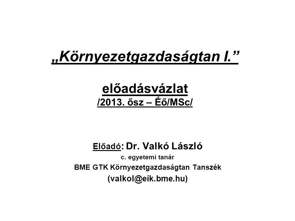 """""""Környezetgazdaságtan I. előadásvázlat /2013. ősz – Éő/MSc/"""