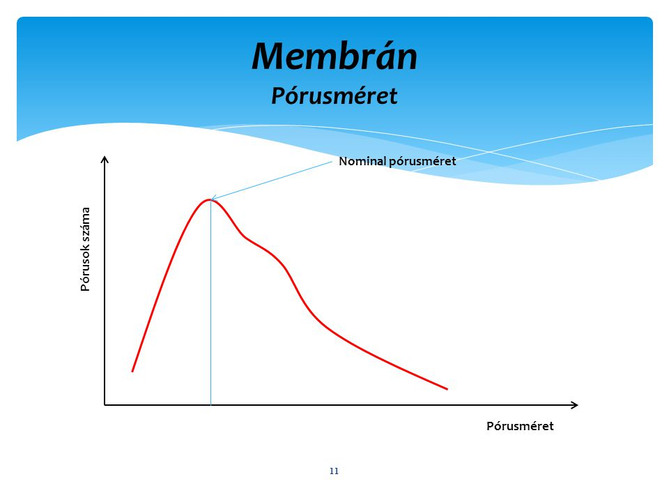 Membrán Pórusméret Nominal pórusméret Pórusok száma Pórusméret