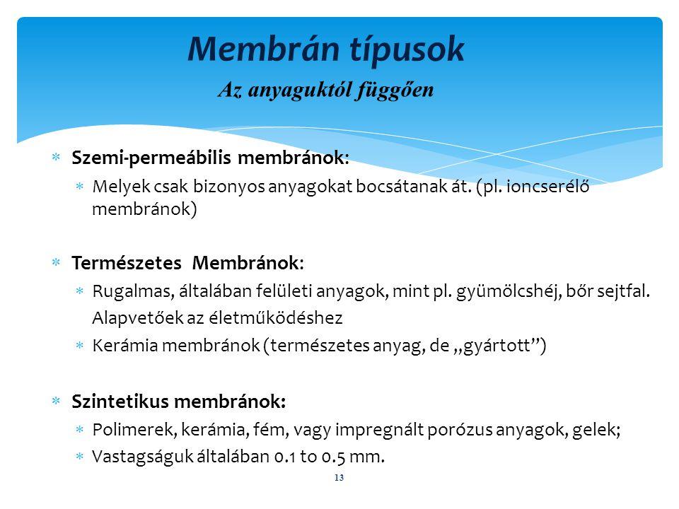 Membrán típusok Az anyaguktól függően Szemi-permeábilis membránok: