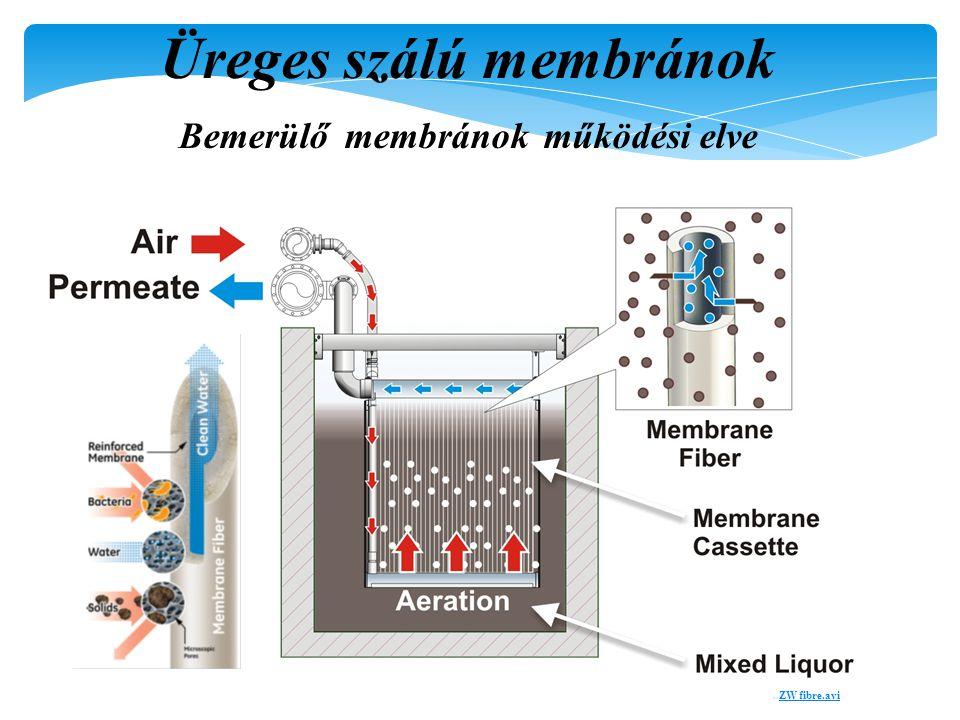 Üreges szálú membránok Bemerülő membránok működési elve