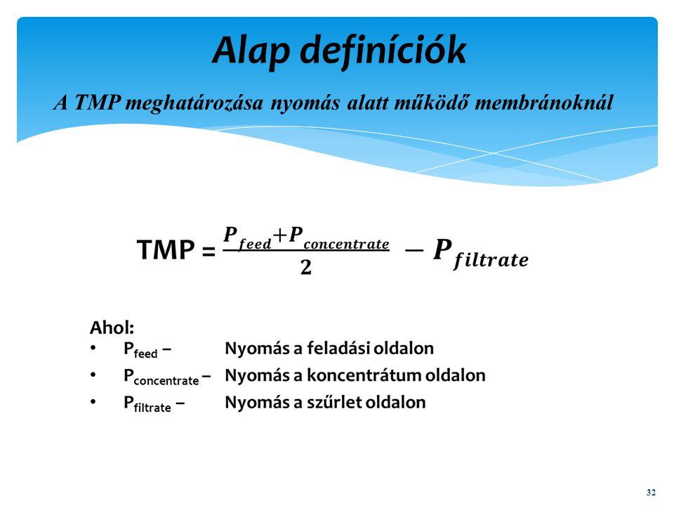 A TMP meghatározása nyomás alatt működő membránoknál