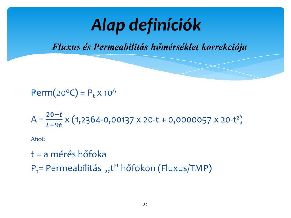 Fluxus és Permeabilitás hőmérséklet korrekciója