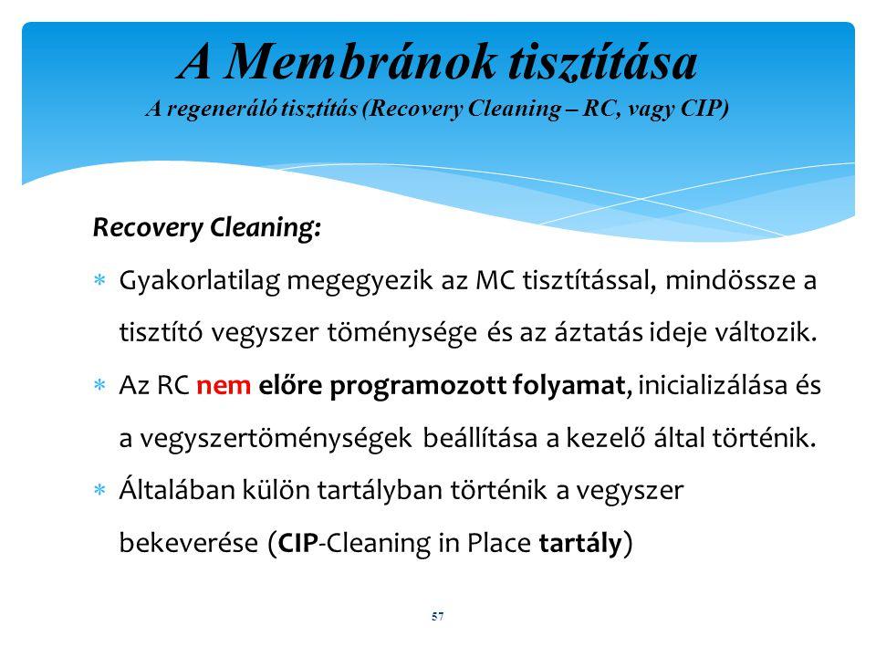 A Membránok tisztítása A regeneráló tisztítás (Recovery Cleaning – RC, vagy CIP)