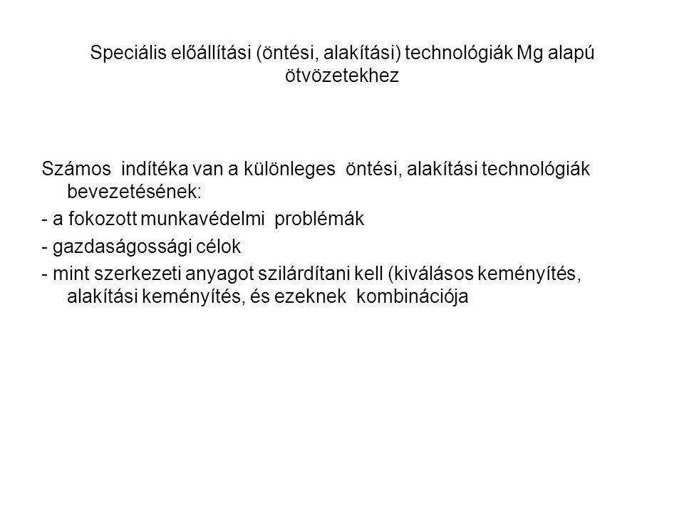 Speciális előállítási (öntési, alakítási) technológiák Mg alapú ötvözetekhez