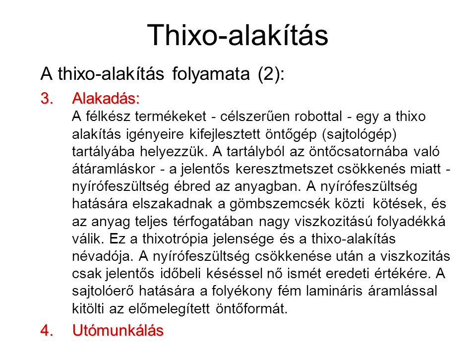 Thixo-alakítás A thixo-alakítás folyamata (2):