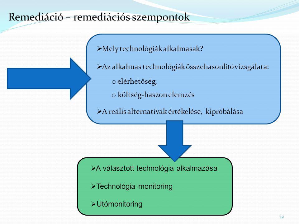 Remediáció – remediációs szempontok