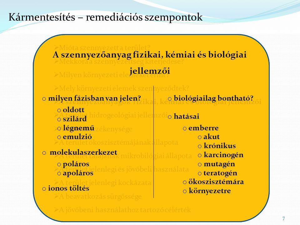 A szennyezőanyag fizikai, kémiai és biológiai jellemzői