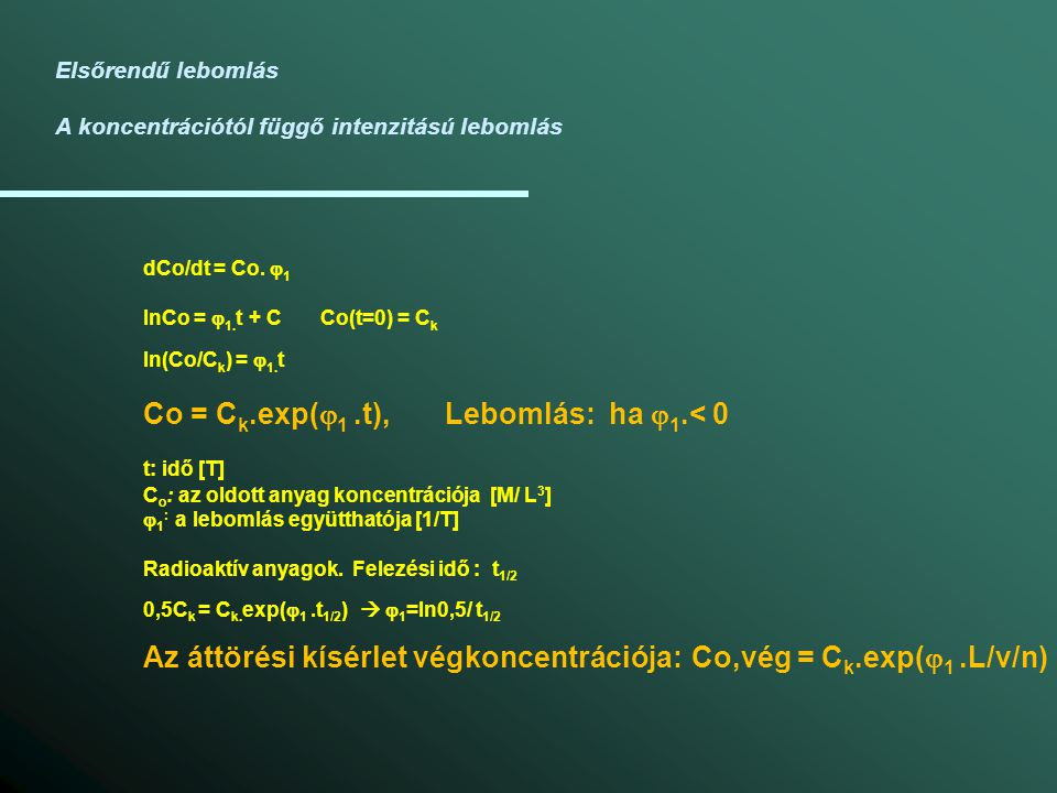 Co = Ck.exp(j1 .t), Lebomlás: ha j1.< 0