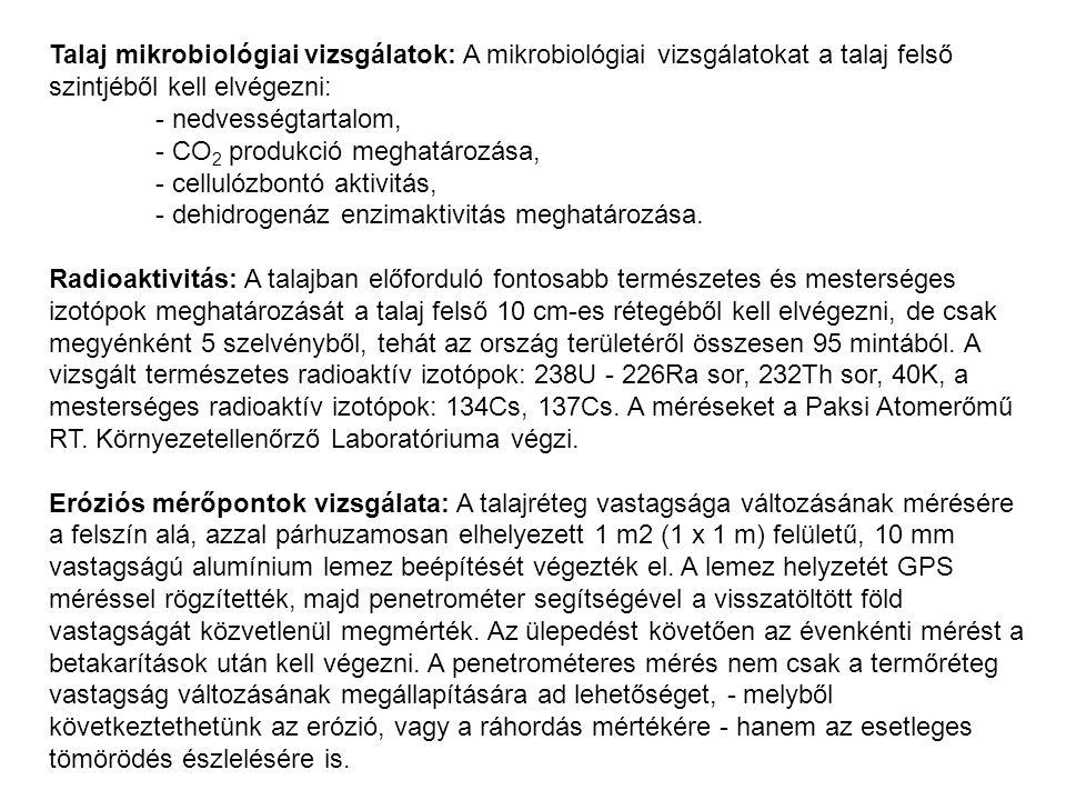 Talaj mikrobiológiai vizsgálatok: A mikrobiológiai vizsgálatokat a talaj felső szintjéből kell elvégezni: