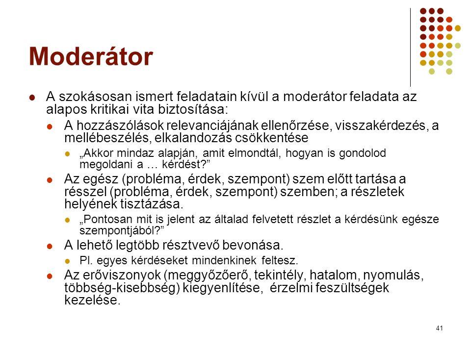Moderátor A szokásosan ismert feladatain kívül a moderátor feladata az alapos kritikai vita biztosítása: