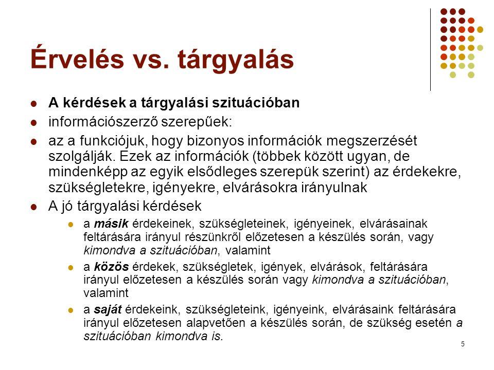 Érvelés vs. tárgyalás A kérdések a tárgyalási szituációban