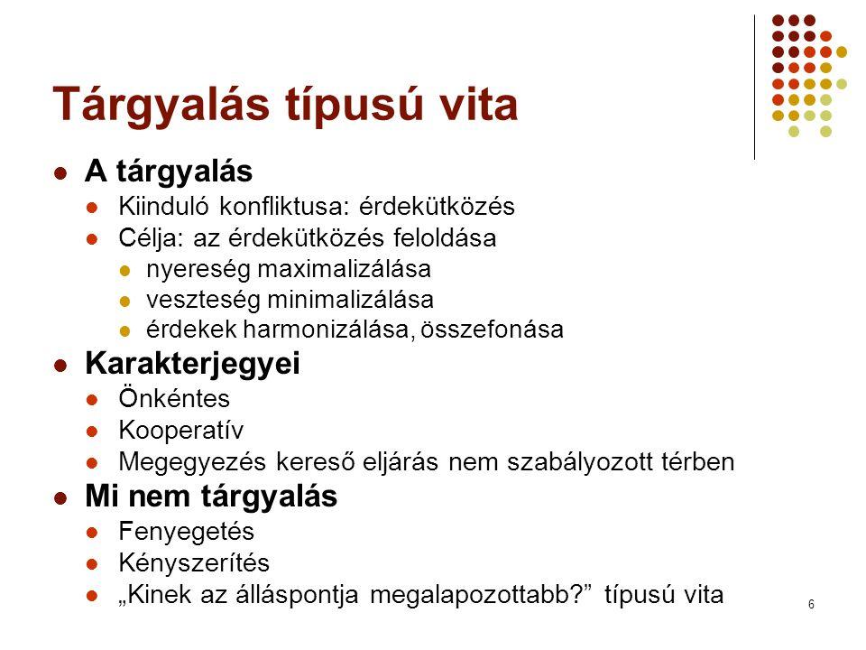 Tárgyalás típusú vita A tárgyalás Karakterjegyei Mi nem tárgyalás
