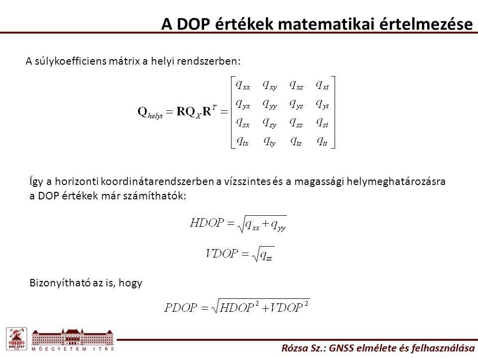 A DOP értékek matematikai értelmezése