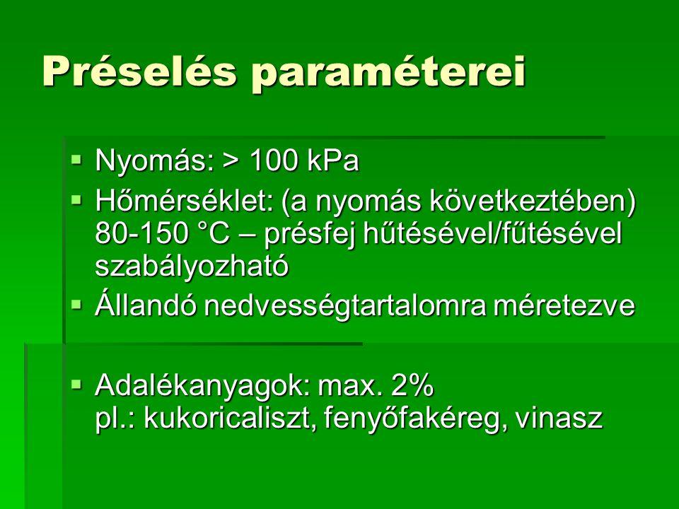 Préselés paraméterei Nyomás: > 100 kPa