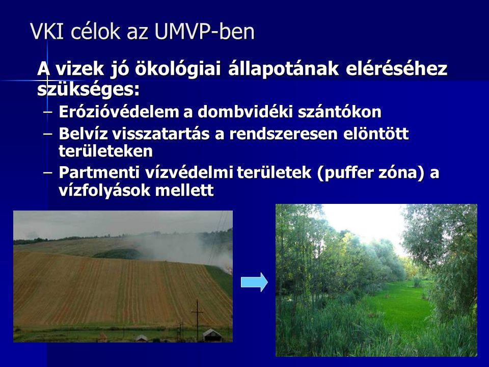 VKI célok az UMVP-ben A vizek jó ökológiai állapotának eléréséhez szükséges: Erózióvédelem a dombvidéki szántókon.