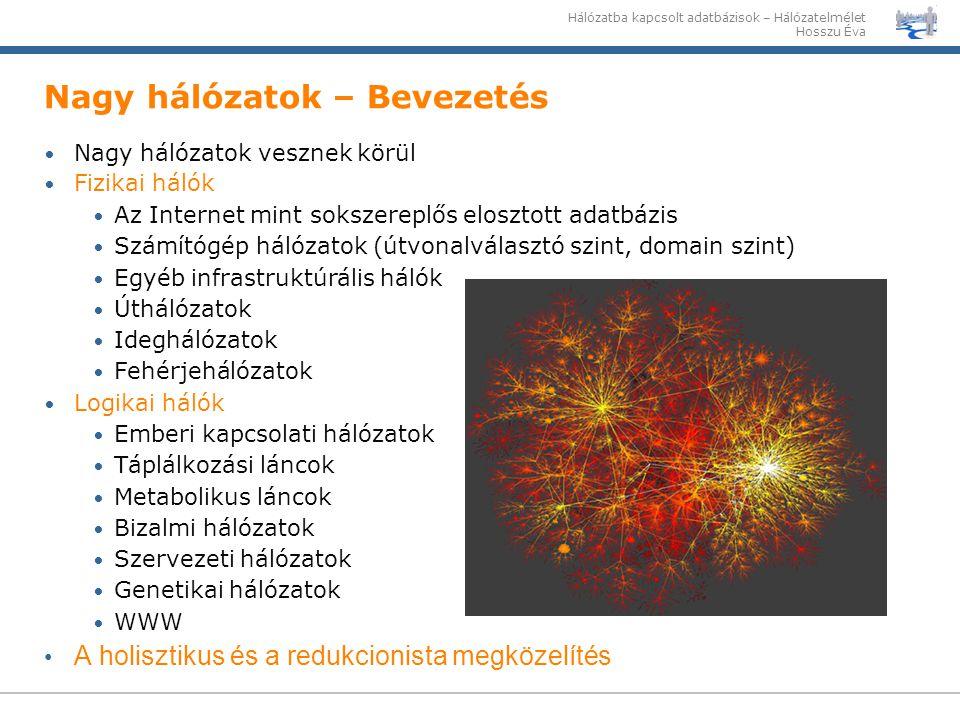 Nagy hálózatok – Bevezetés