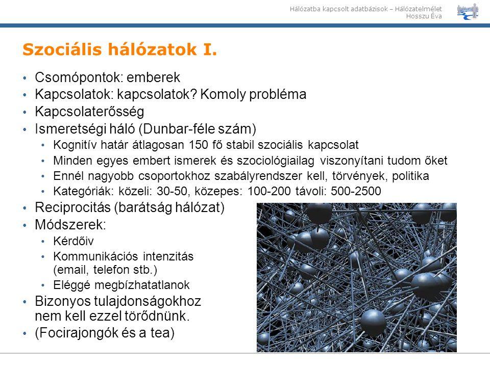 Szociális hálózatok I. Csomópontok: emberek
