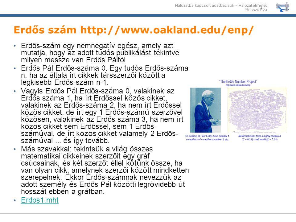 Erdős szám http://www.oakland.edu/enp/