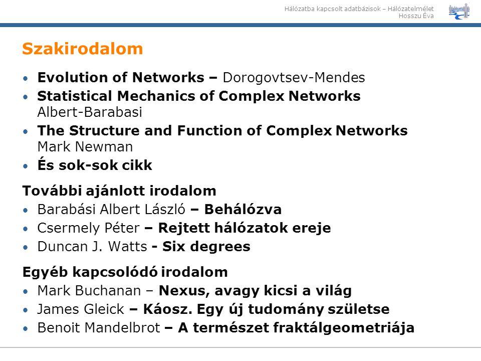 Szakirodalom Evolution of Networks – Dorogovtsev-Mendes