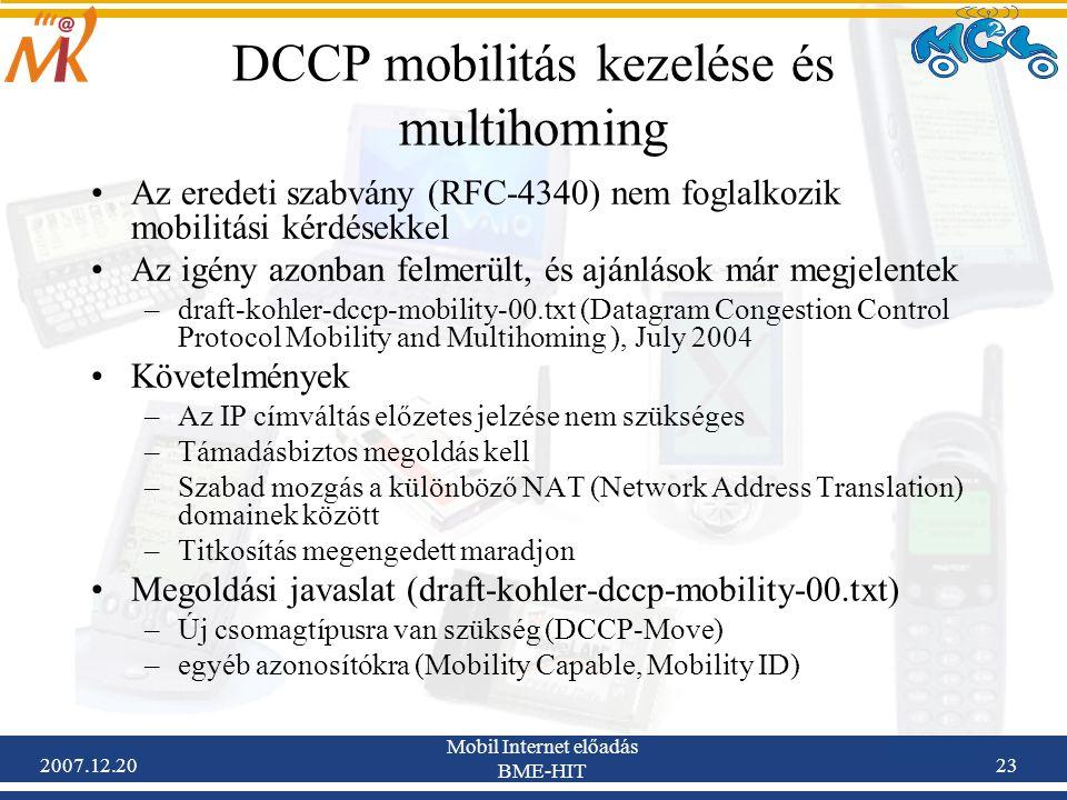 DCCP mobilitás kezelése és multihoming