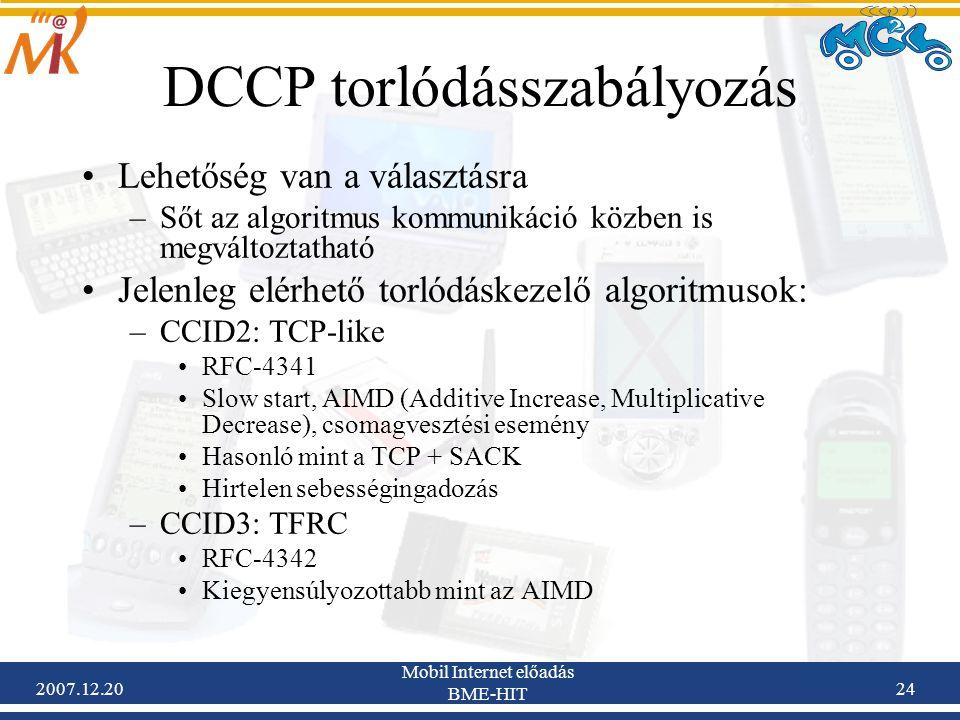 DCCP torlódásszabályozás
