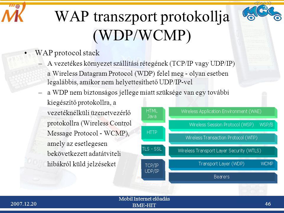 WAP transzport protokollja (WDP/WCMP)