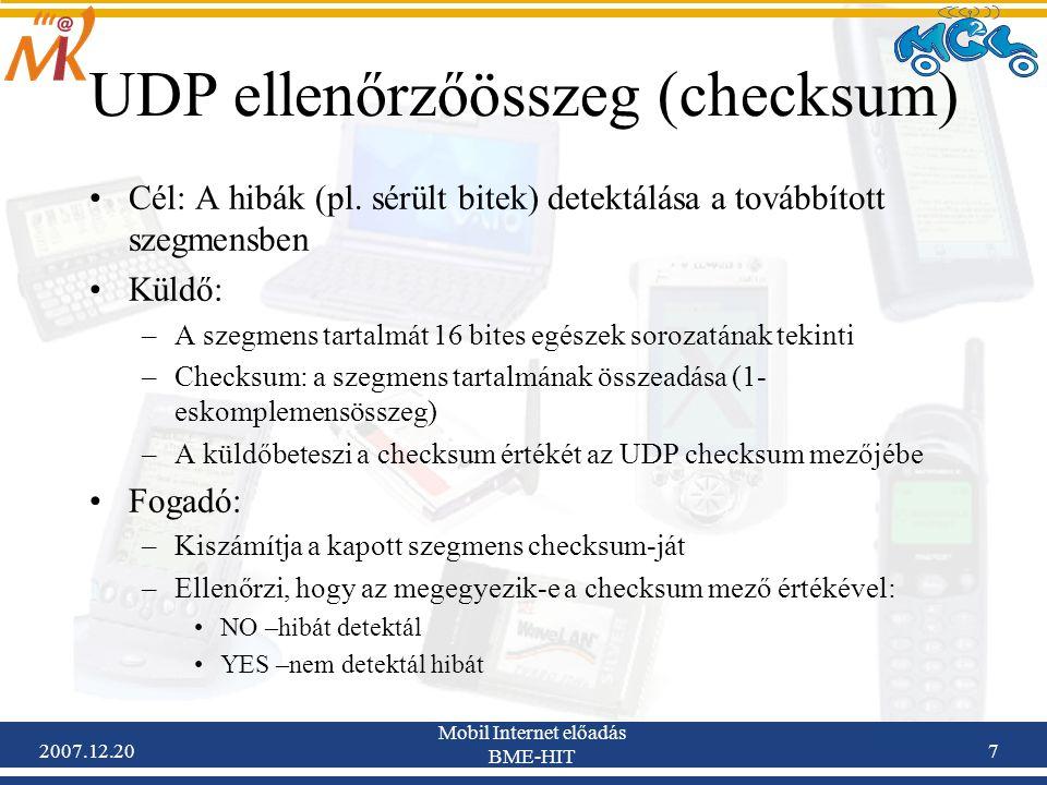 UDP ellenőrzőösszeg (checksum)