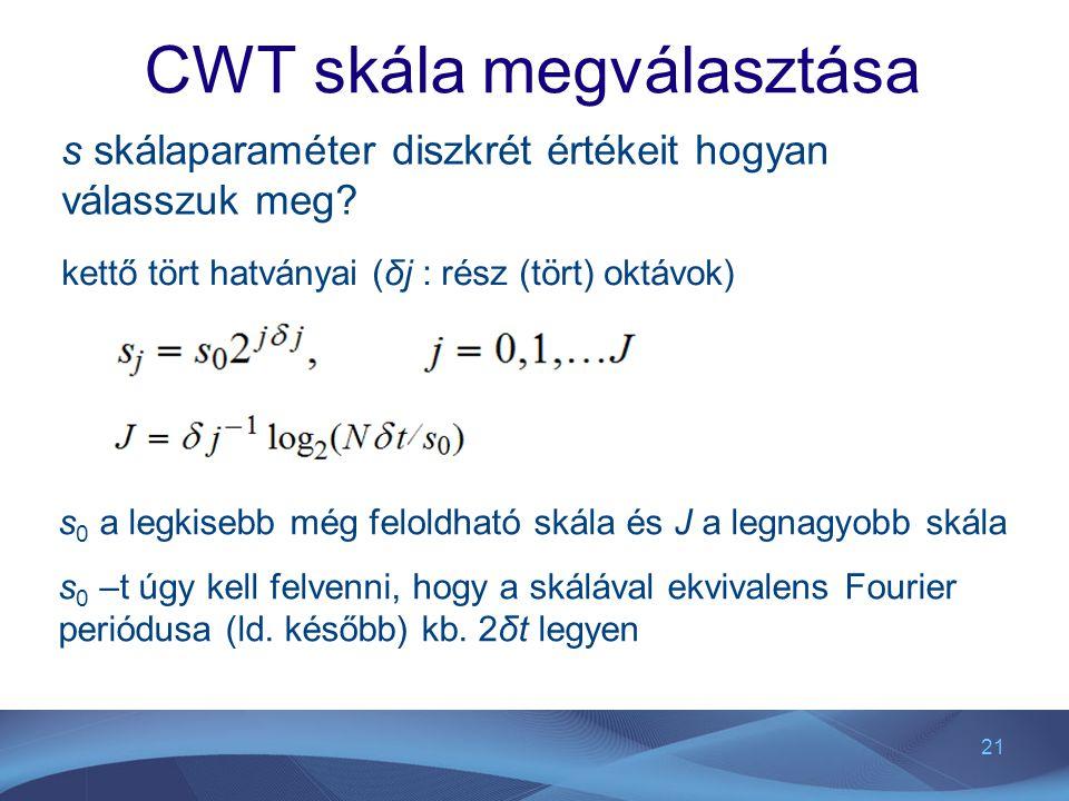 CWT skála megválasztása
