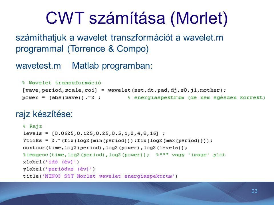 CWT számítása (Morlet)