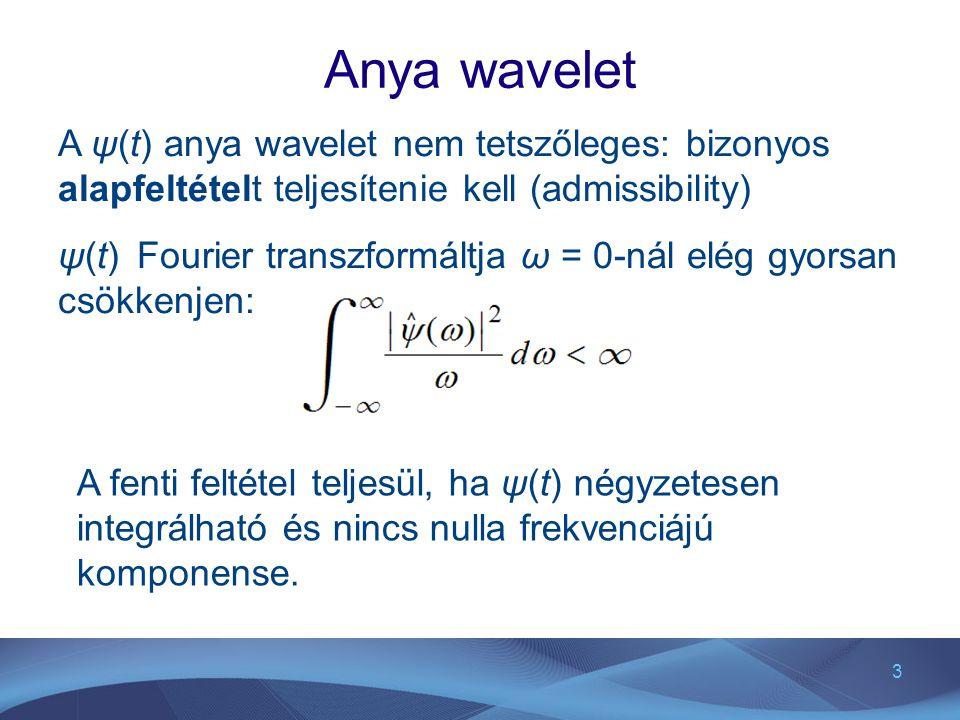 Anya wavelet A ψ(t) anya wavelet nem tetszőleges: bizonyos alapfeltételt teljesítenie kell (admissibility)