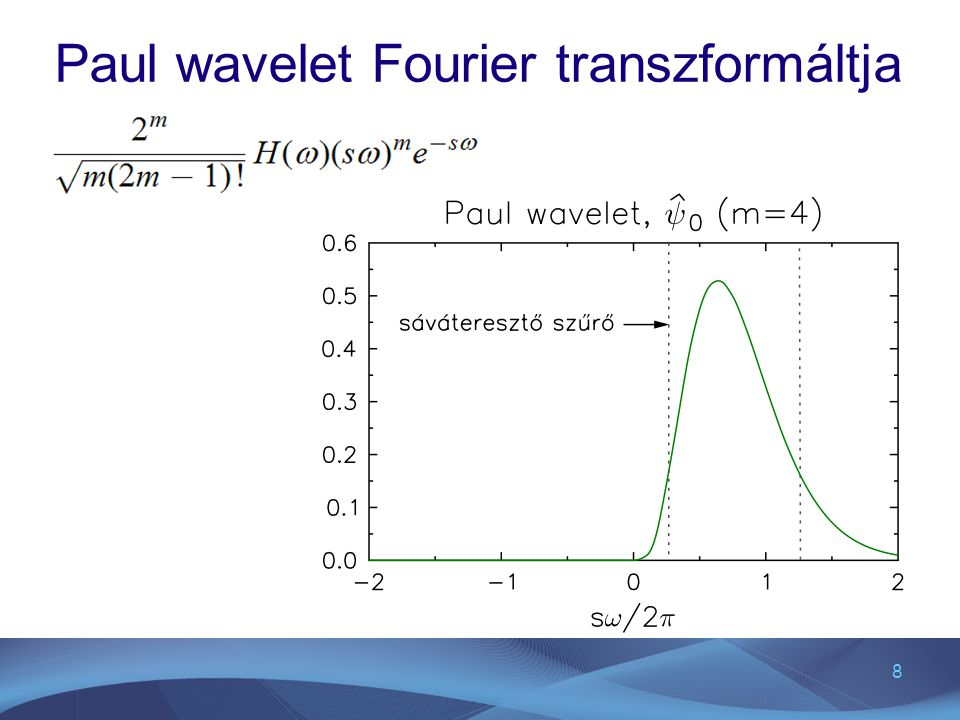 Paul wavelet Fourier transzformáltja
