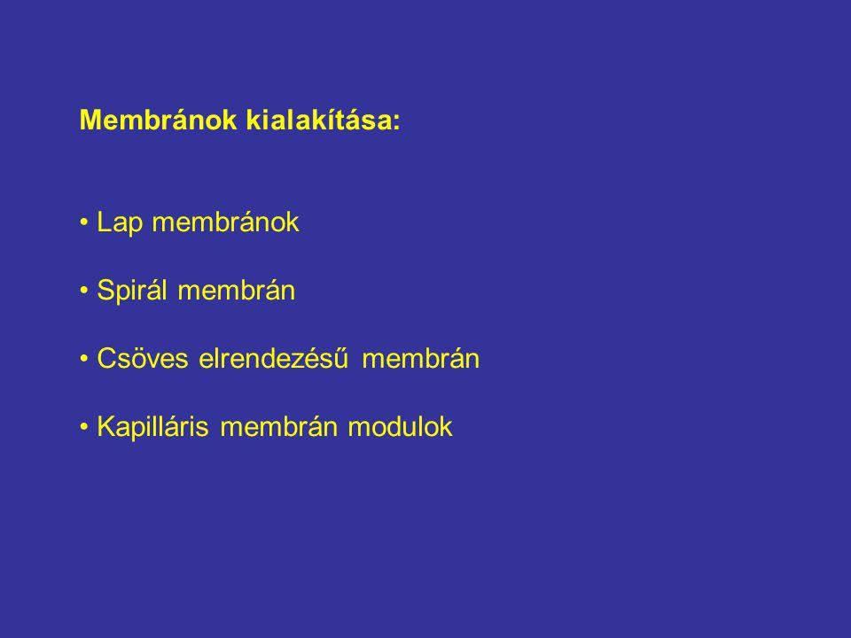 Membránok kialakítása: