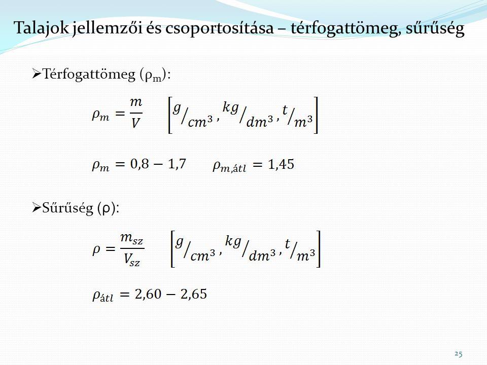 Talajok jellemzői és csoportosítása – térfogattömeg, sűrűség