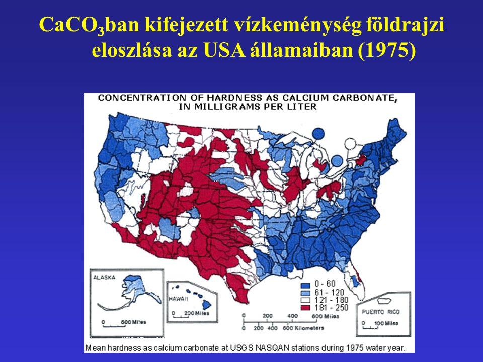 CaCO3ban kifejezett vízkeménység földrajzi eloszlása az USA államaiban (1975)