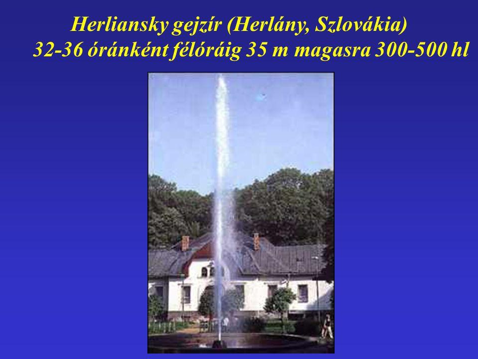 Herliansky gejzír (Herlány, Szlovákia) 32-36 óránként félóráig 35 m magasra 300-500 hl