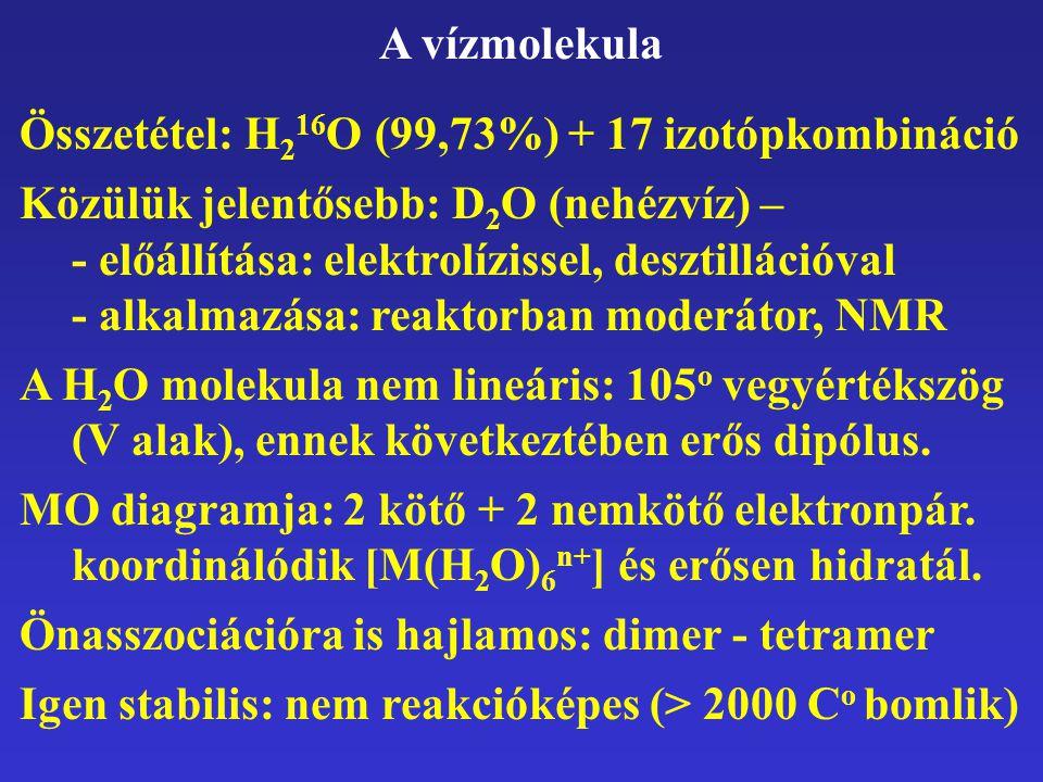 A vízmolekula Összetétel: H216O (99,73%) + 17 izotópkombináció.