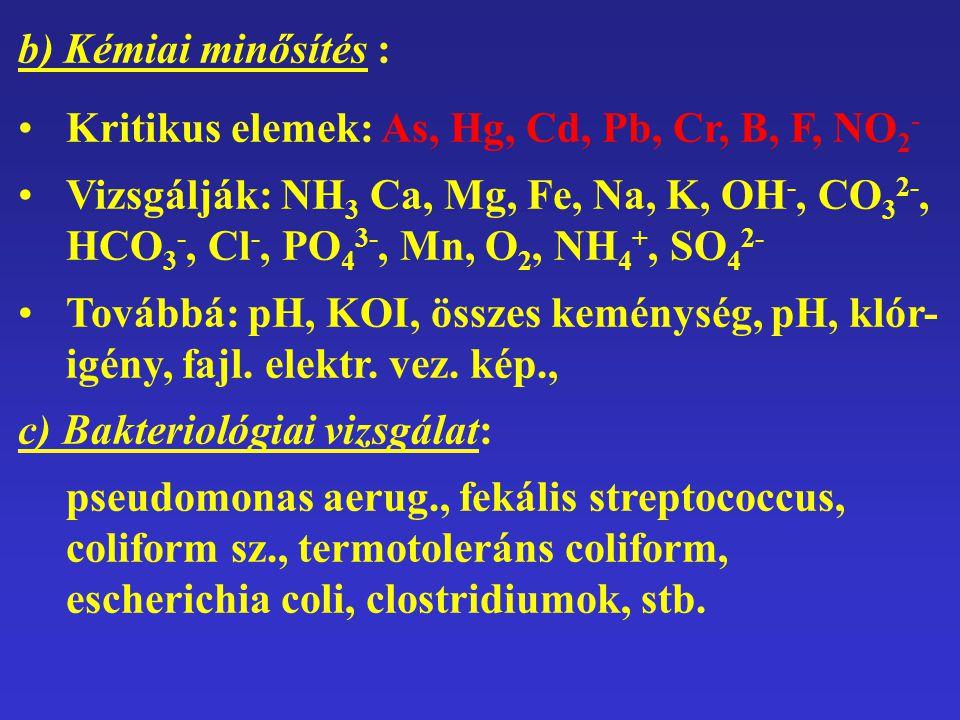 b) Kémiai minősítés : Kritikus elemek: As, Hg, Cd, Pb, Cr, B, F, NO2-