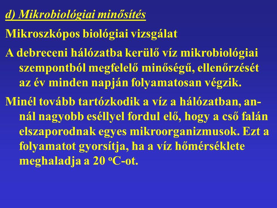 d) Mikrobiológiai minősítés