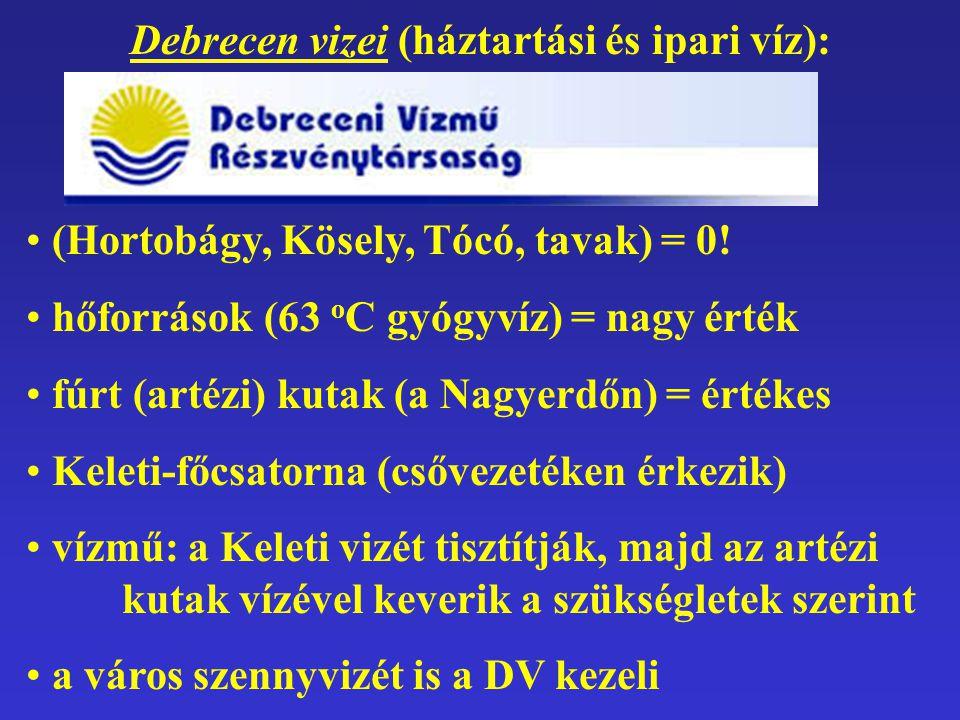 Debrecen vizei (háztartási és ipari víz):