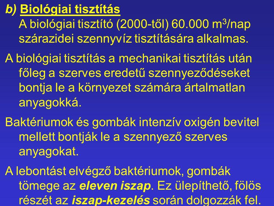 b) Biológiai tisztítás A biológiai tisztító (2000-től) 60