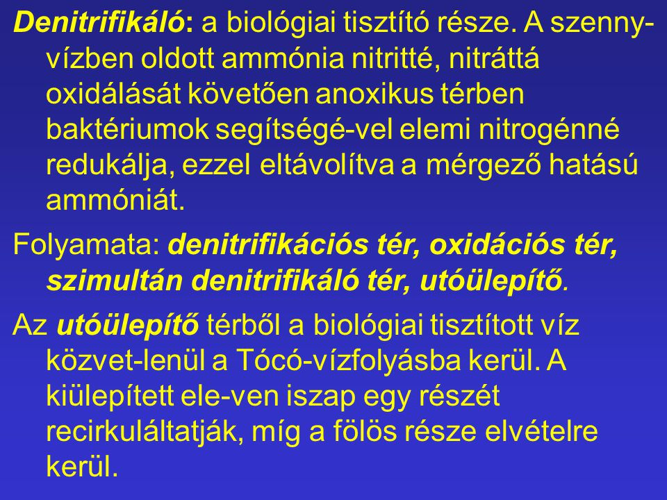 Denitrifikáló: a biológiai tisztító része