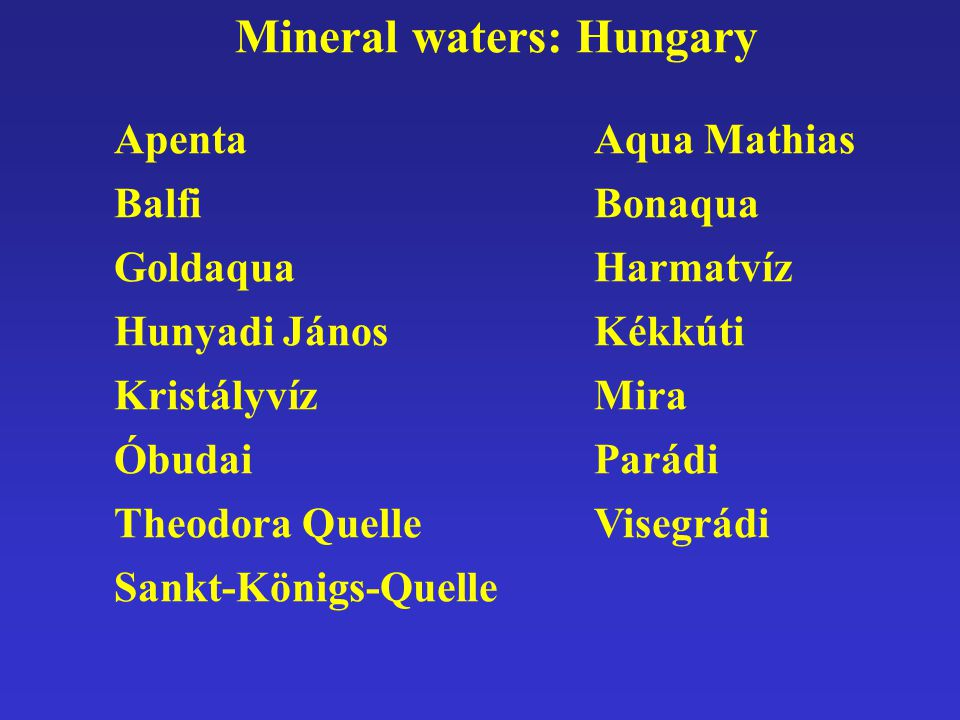 Mineral waters: Hungary