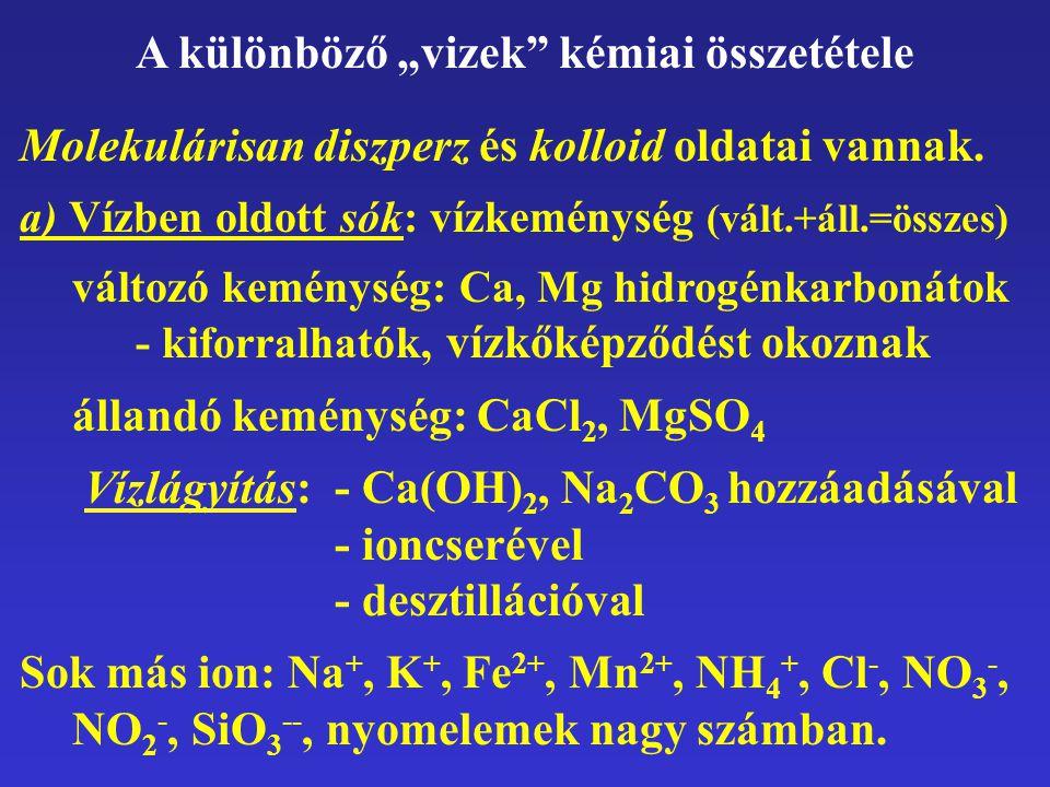 """A különböző """"vizek kémiai összetétele"""