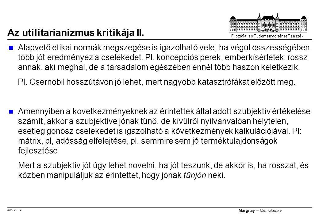 Az utilitarianizmus kritikája II.