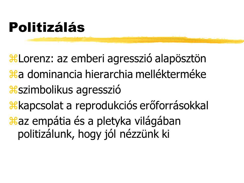 Politizálás Lorenz: az emberi agresszió alapösztön