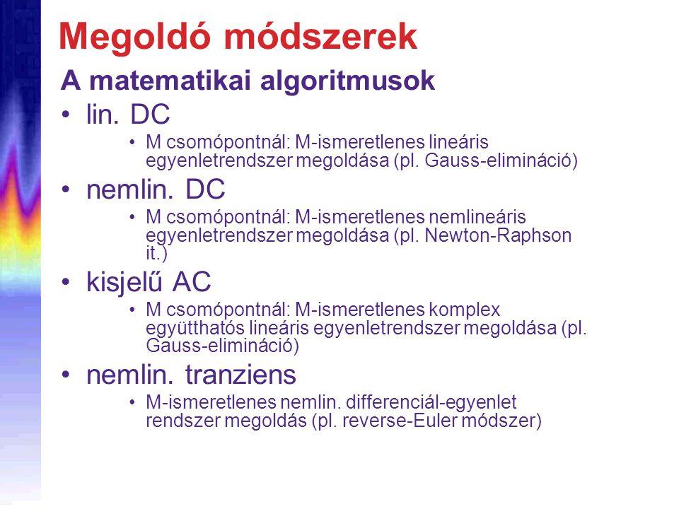 Megoldó módszerek A matematikai algoritmusok lin. DC nemlin. DC