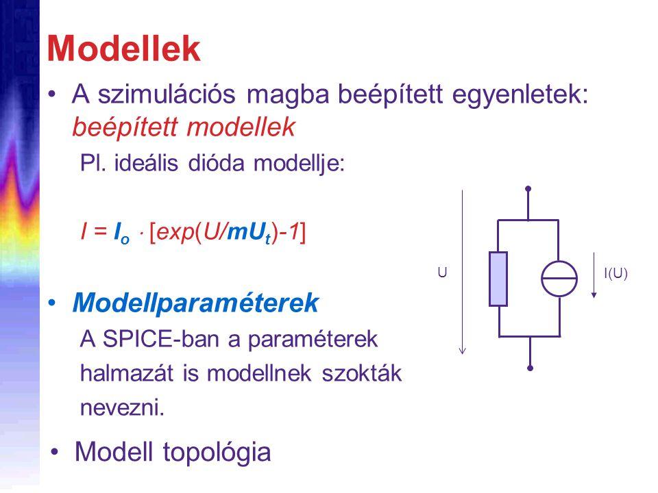 Modellek A szimulációs magba beépített egyenletek: beépített modellek