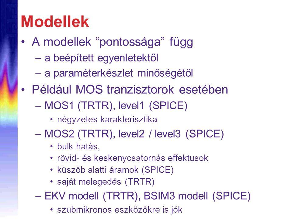 Modellek A modellek pontossága függ